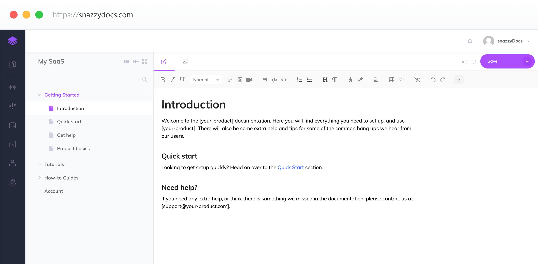snazzyDocs Editor Screenshot